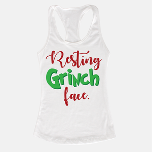 Resting Grinch Face Women's Racerback Tank Top White