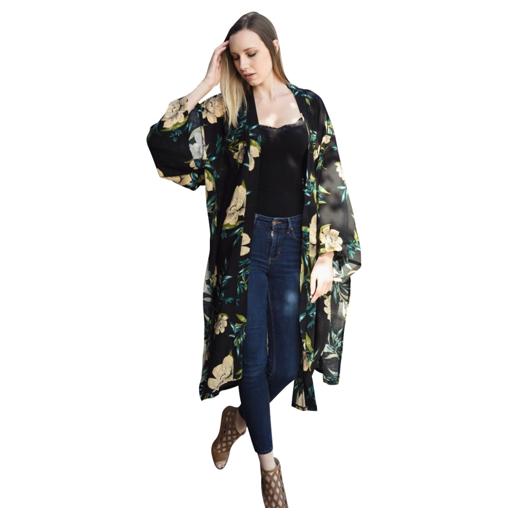 Beautiful Long Black Anemone Floral Kimono