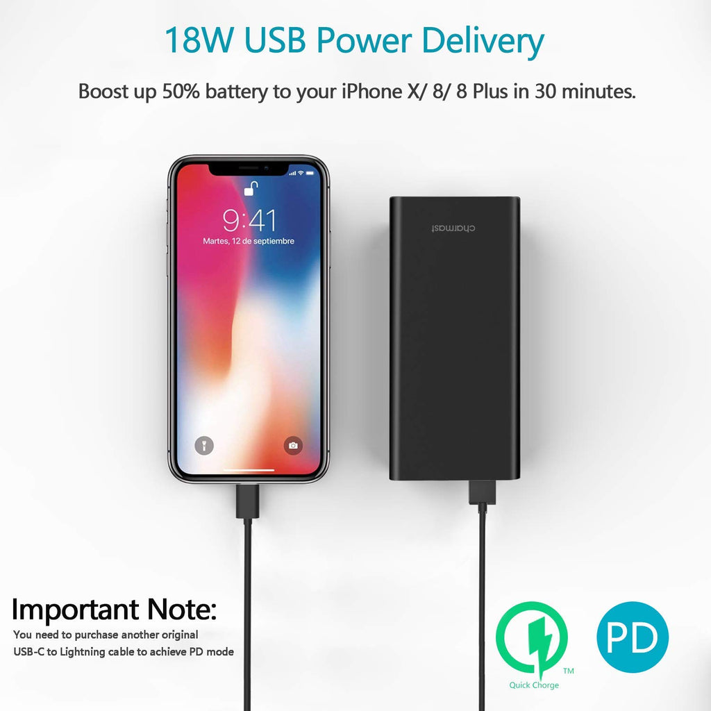 10400mAh Portable Charger, Charmast Slim 18W USB C Power Bank with Power Delivery & Quick Charge 3.0 Battery Pack