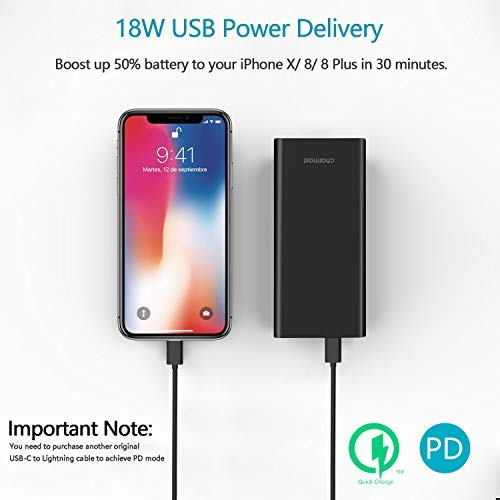 20800mAh Portable Charger, Slim 18W USB C Power Bank with Power Delivery & Quick Charge 3.0 Battery Pack Compatible Nintendo Switch, iPhone Xs XR X 8, MacBook/New Type-C iPad Pro/MacBook Air (Black)