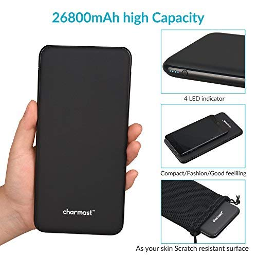 Charmast USB C Power Bank, 26800mAh Portable Charger USB-C, Slimline Type C Battery Pack with 3 Inputs (5V 1.5A 2A 2.6A)& 4 Outputs (5V 2.4A 3A) Compatible with MacBook, Galaxy S8, Pixel, iPhone, iPad