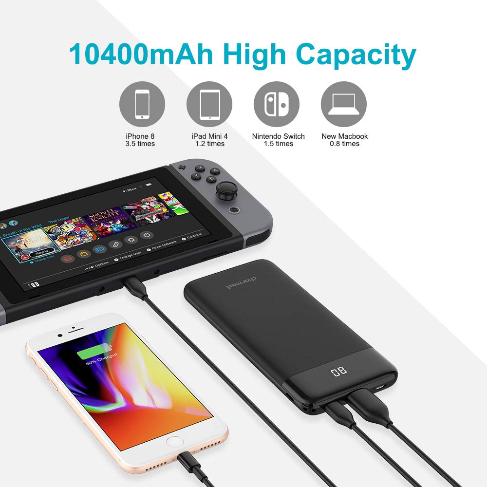USB C Power Bank PD 10400mAh Portable Charger, Slim 10000 Phone Charger Power Delivery & Quick Charge 3.0 Battery Pack Compatible with Google Pixel 2, iPhone, S8 (Standard)