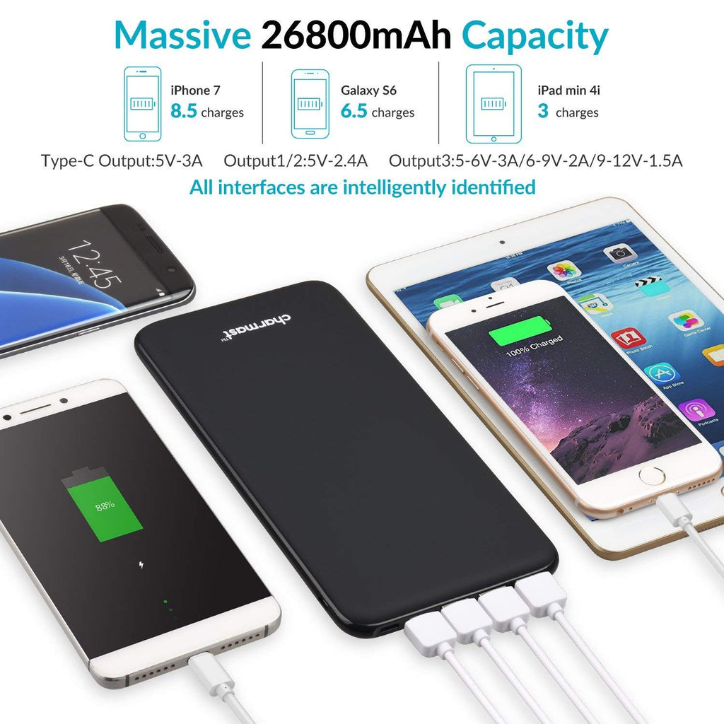 Charmast 26800mAh Ultra Slim Quick Charge Power Bank