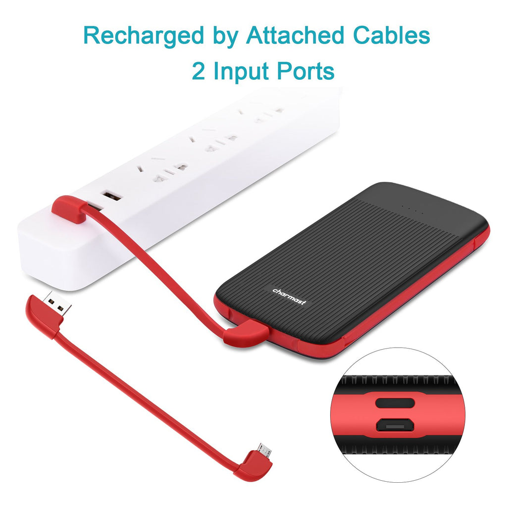 Charmast 10000mAh Built-in Cable Power bank