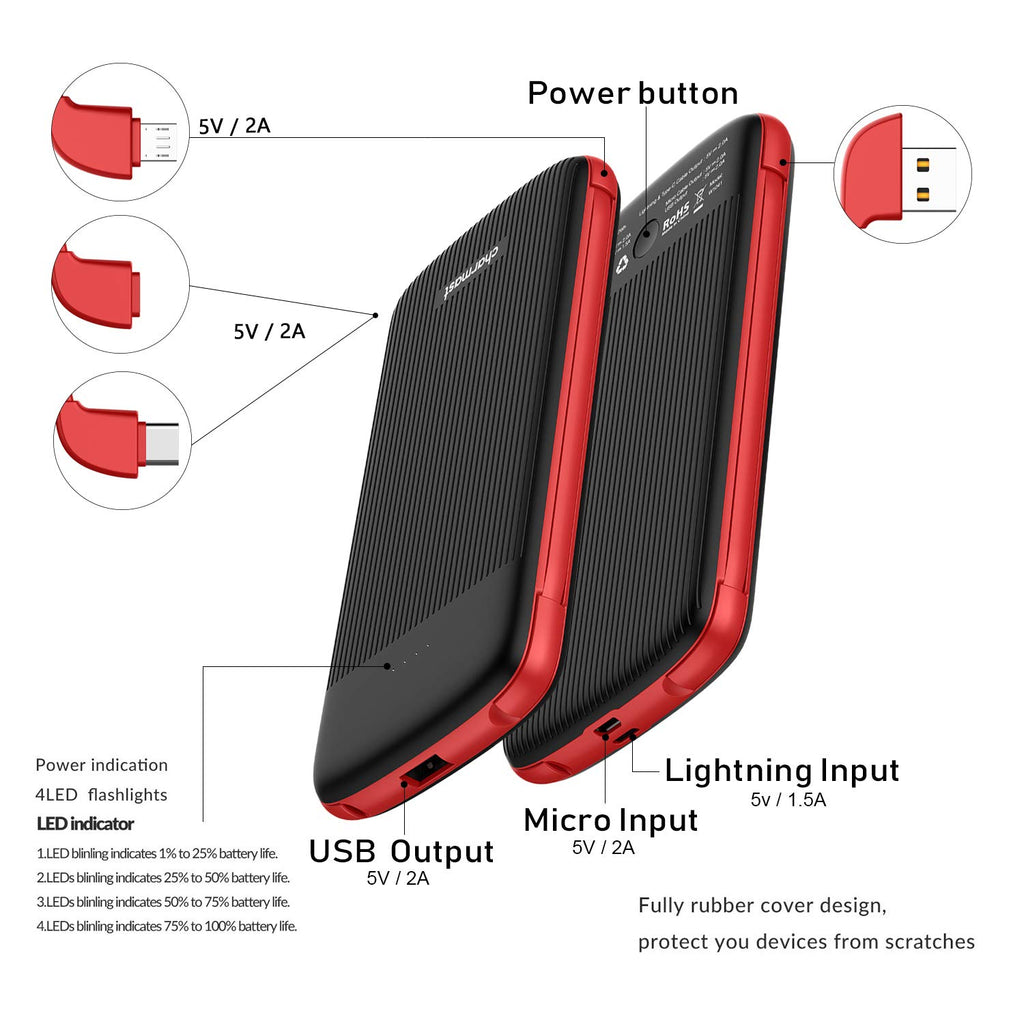 10000mAh Power Bank External Battery Portable Charger Pack with Built-in Type C and Micro USB Cable for iPhone Xs/XS Max/X 8 Samsung Huawei Android Cell Phones (Black)