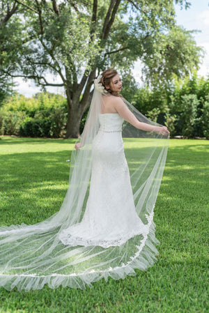 Cecilia  Elaborate chapel length ruffle veil with beaded alencon lace