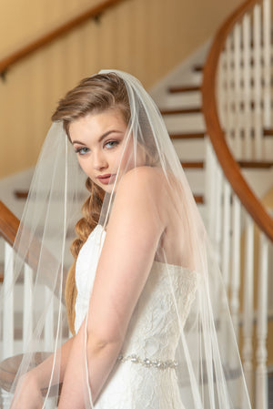 Timeless Wedding Veils ivory Daphne French alencon lace chapel veil