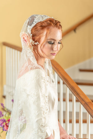 Timeless Wedding Veils chantilly and alencon lace mantilla side view