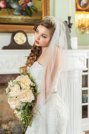 Evelyn  Beaded alencon rose lace chapel veil