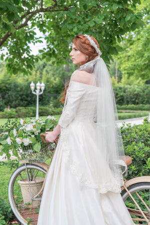 Timeless Wedding Veils fingertip length Gemma veil with alencon lace