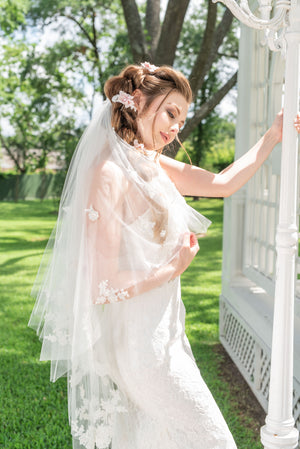 Timeless Wedding Veils 2 layer alencon lace applique veil with cut edge