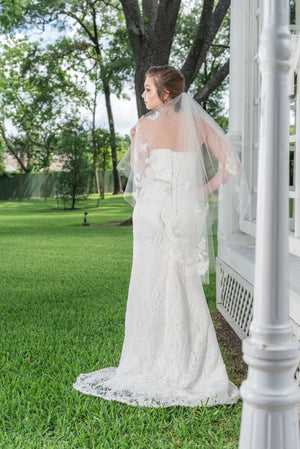 Timeless Wedding Veils 2 layer alencon lace applique veil back view