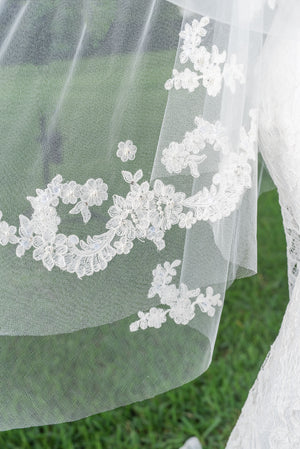 Timeless Wedding Veils Grace 2 layer alencon lace applique veil closeup