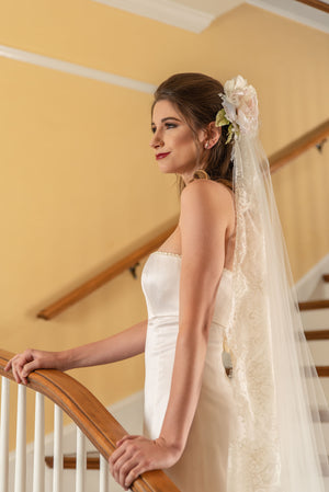 Jacqueline  A wide border Chantilly eyelash lace chapel length veil