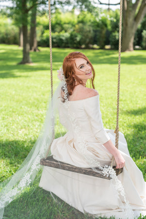 Timeless Wedding Veils  Laurel alencon lace cathedral veil