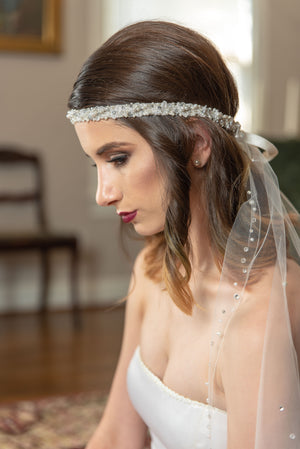 Lillian  Ballet length crystal and pearl silver edge veil