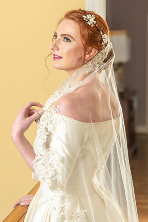 Timeless Wedding Veils side view Mariel alencon lace mantilla veil in ivory