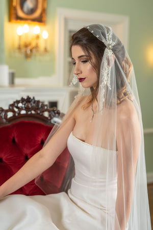 Naomi  Chantilly appliqué Juliet veil with gathered pearl front and pencil edge