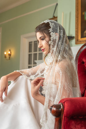 Natalie  Allover chantilly and delicate beaded alencon lace edge veil