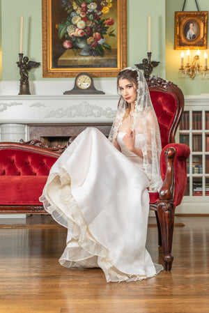 Timeless Wedding Veils Natalie alencon and chantilly lace knee length mantilla