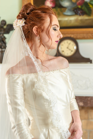 Paola  French chantilly lace chapel length veil