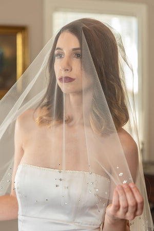 Sabrina  A two tier scalloped crystal edge veil