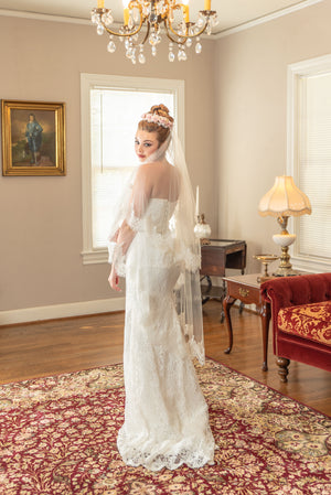 Silvie  A two tier elbow and fingertip chantilly eyelash lace border veil