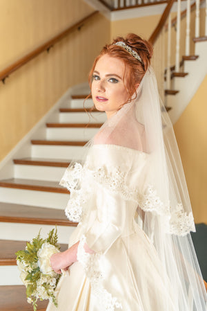 Timeless Wedding Veils  2 layer alencon lace chapel length wedding veil front view