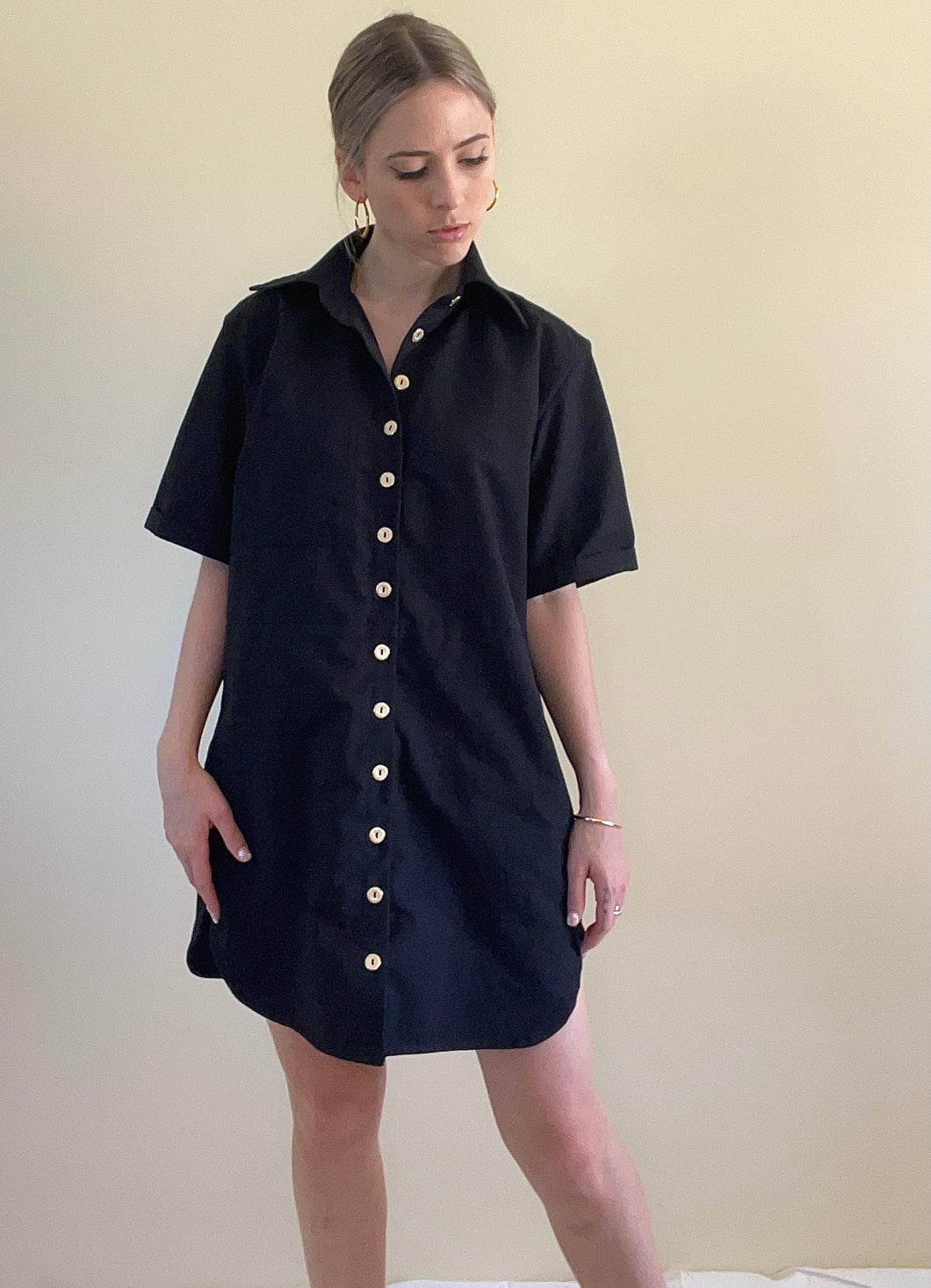 Evie Shirt Dress in Black (made to order)