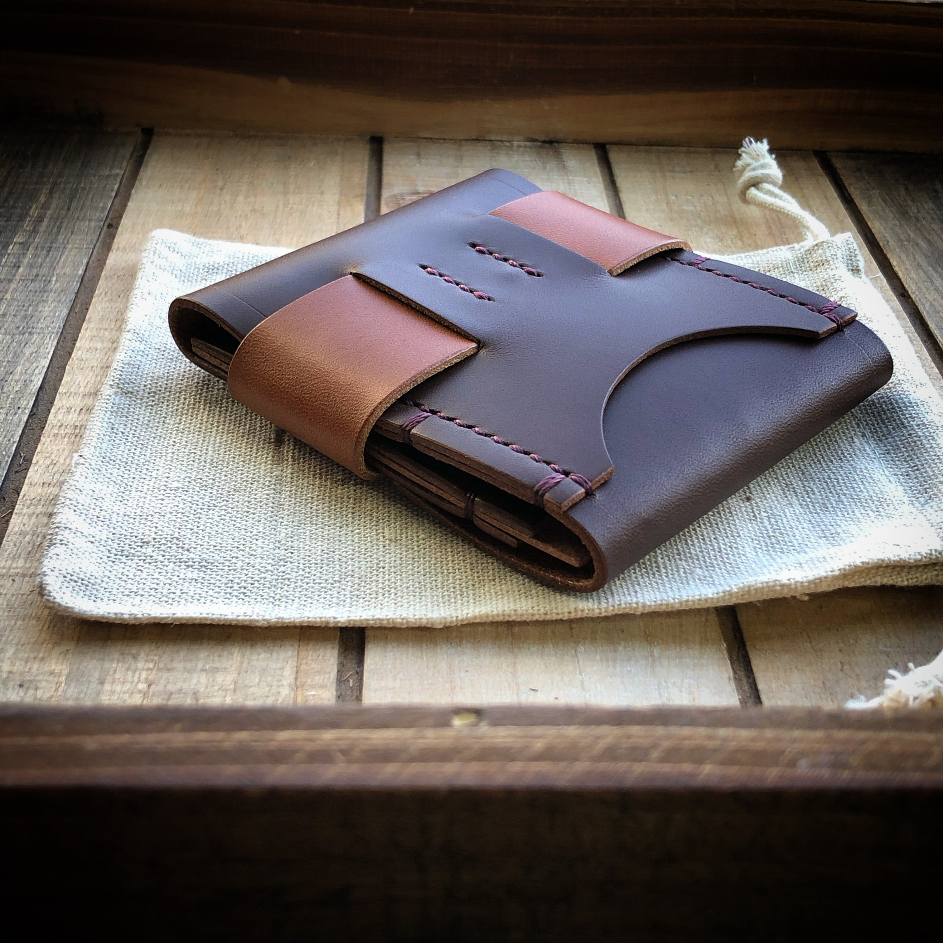Luxe Minimalist Wallet - Quick Access - Dark Mahogany and Bourbon