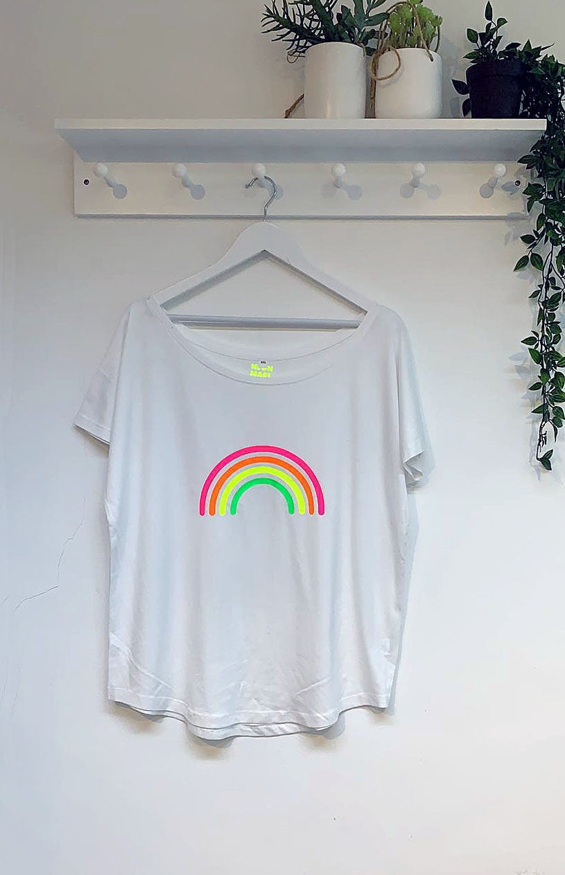 Neon Marl Relaxed Fit Neon Rainbow Cotton Top