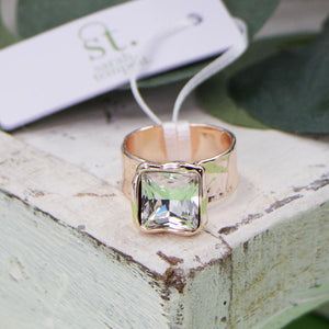 Large Square Crystal Ring