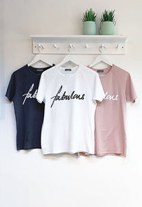 Chalk Darcey Cotton Slogan Tee - Fabulous