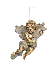 Load image into Gallery viewer, Gold Glitter Cherub Christmas Tree Decoration