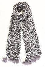 Load image into Gallery viewer, Leopard Print Tassel Scarf