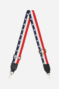 Printed Bag Strap - Navy, Red & White Stars & Stripes