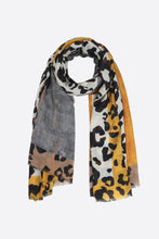 Load image into Gallery viewer, Cotton Blend Leopard Print & Colour Block Scarf