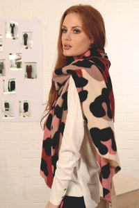Abstract Leopard Print Blanket Scarf