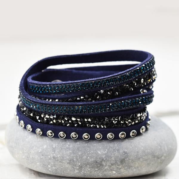 Crystal Encrusted Navy Wrap Bracelet