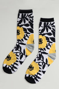 Yellow Flower Bamboo Socks