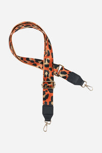 Printed Bag Strap - Orange Leopard Print