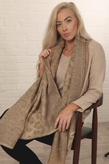 Taupe Leopard Print Blanket Scarf