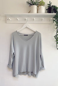 Annalise Silver Glitter Trim Top