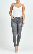 Load image into Gallery viewer, Grey Ripped Bleach Wash Skinny Jeans