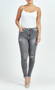 Grey Ripped Bleach Wash Skinny Jeans