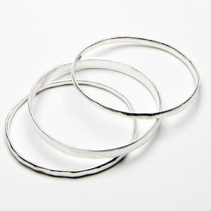 Burnished Silver Bangle Trio