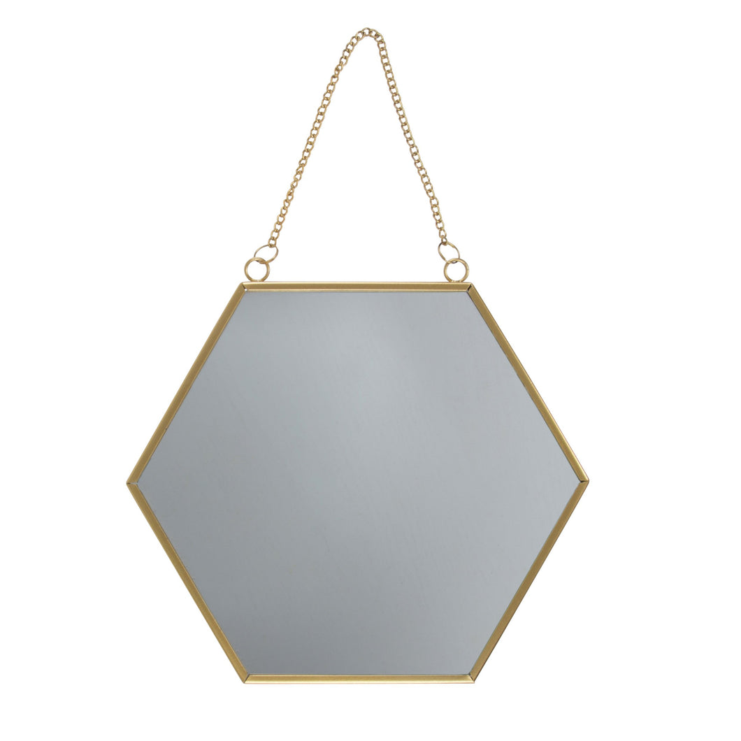 Touch of Gold Hexagon Mirror