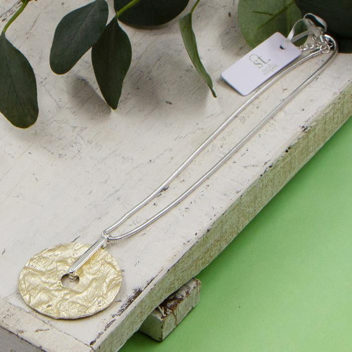 Textured Disc Pendant Necklace