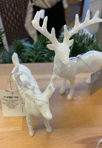 White Iridescent Reindeer Christmas Tree Decoration