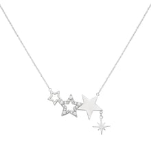 Load image into Gallery viewer, Kate Thornton Three Star Silver Friendship Necklace